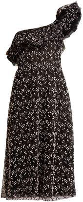 Giambattista Valli One-shoulder embroidered cotton-blend tulle dress