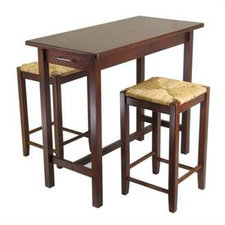 Winsome Wood Sally 3-Pc Breakfast Table Set with 2 Rush Seat Stools