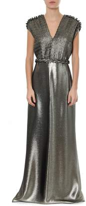 Max Mara Lead Silk Long Pleated Dress