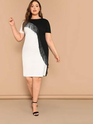 Shein Plus Fringe Front Two Tone Pencil Dress