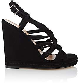 Barneys New York WOMEN'S KNOTTED-STRAP SUEDE PLATFORM-WEDGE SANDALS