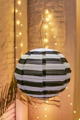 "SojiTM Black + White 14"" Striped Round Solar Lantern"