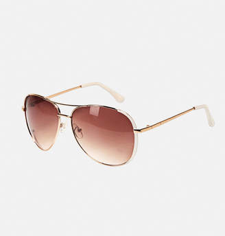 Avenue White Rim Aviator Sunglasses