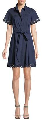 Shoshanna Irene Shirt Dress w/ Eyelet Trim