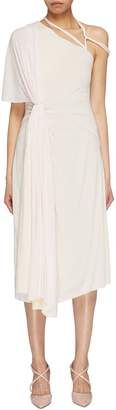 Esteban Cortazar Gathered drape strappy shoulder jersey dress