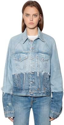R 13 Patchwork Cotton Denim Trucker Jacket