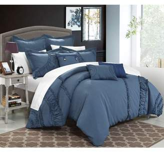 Chic Home 12-Piece Dearly NEW FAUX LINEN FABRIC COLLECTION OVERSIZED AND OVERFILLED embroidered GEOMETRIC pleated ruffled color block Queen Bed In a Bag Comforter Set Blue With White Sheets included