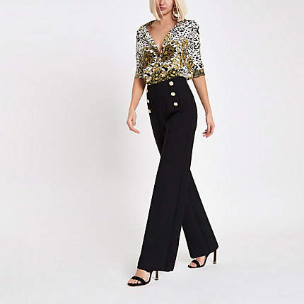 Womens Black gold tone button wide leg trousers