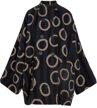 Vivienne Westwood Anglomania - Joan Printed Cotton-blend Coat - Navy $1,160 thestylecure.com