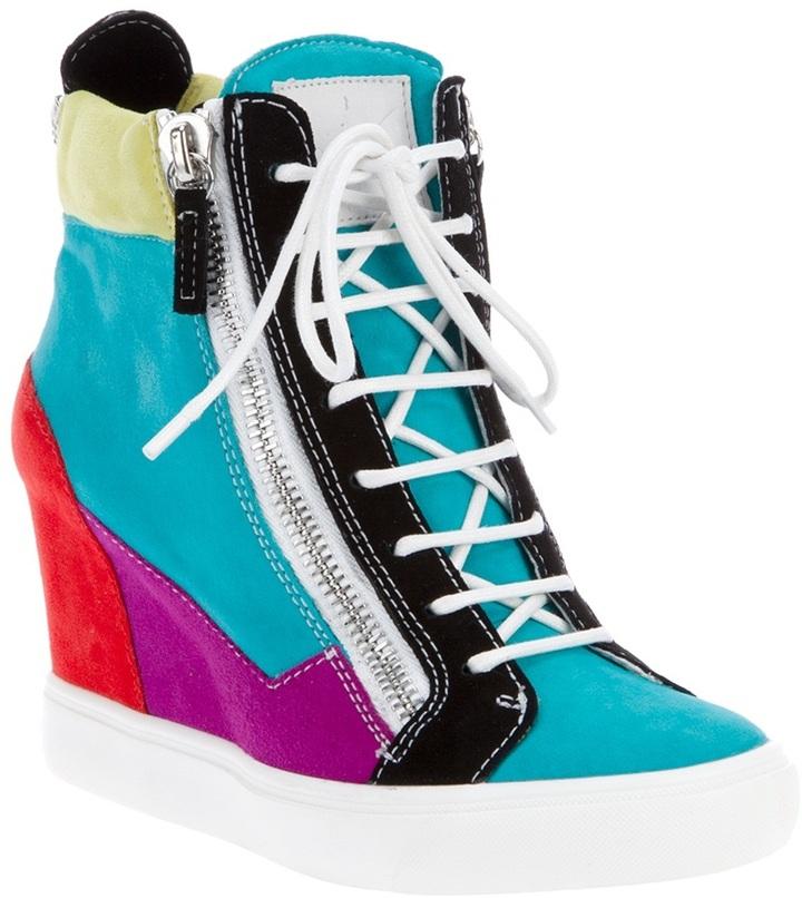 Giuseppe Zanotti Design colour block wedge hi-top trainer