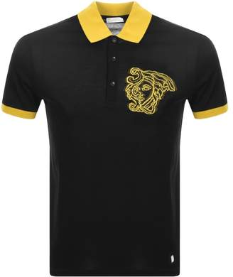 Versace Contrast Polo T Shirt Black
