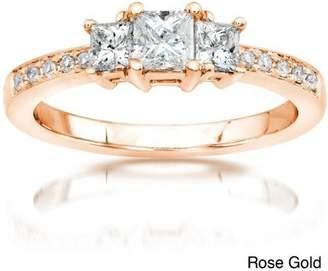 Trilogy FineTresor Three Stone Half Carat Diamond Engagement Ring in White Gold