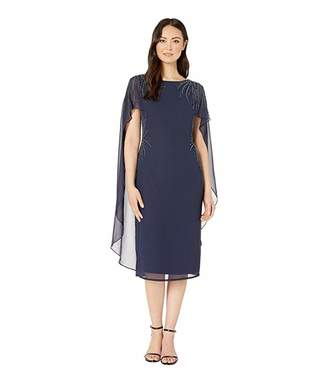 Adrianna Papell Beaded Georgette Cape Back Cocktail Dress
