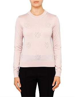 Paul Smith Womens Pullover Crew Neck Knit With Flowers Pale Pink