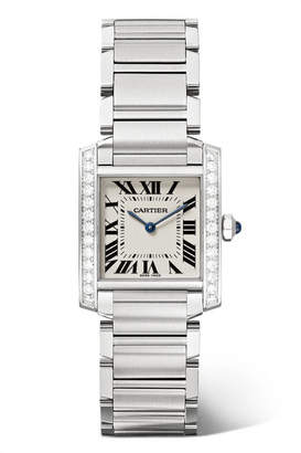Cartier Tank Française 25.05mm Medium Stainless Steel And Diamond Watch - Silver