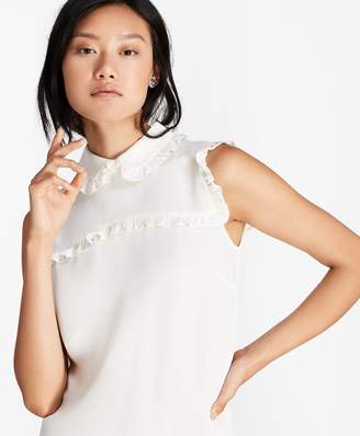Brooks Brothers Ruffle-Trimmed Crepe Blouse