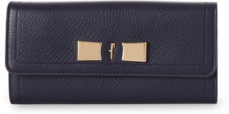 Salvatore Ferragamo Navy Vara Leather Flap Wallet