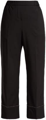 No.21 NO. 21 Crystal-embellished wool-crepe trousers