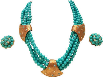 One Kings Lane Vintage Faux-Turquoise Bead Necklace & Earrings - Jacki Mallick Designs