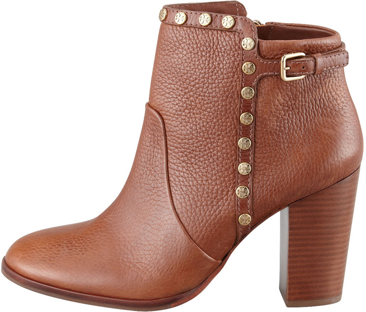 Tory Burch Mae Logo-Studded Ankle Boot, Almond