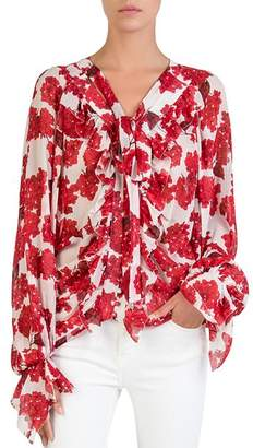 The Kooples Silk Hortensia-Print Blouse