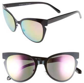Women's A.j. Morgan Buns 53Mm Cat Eye Sunglasses - Black Mirror $24 thestylecure.com