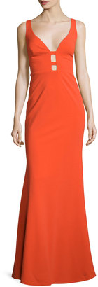 Nicole Miller Sleeveless Column Gown W/Cutouts, Bright Orange $197 thestylecure.com