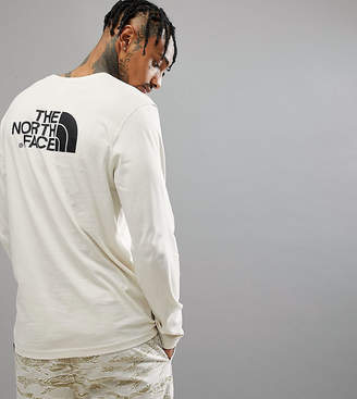 The North Face Easy Long Sleeve Top Back Logo Print Exclusive to ASOS In Vintage White