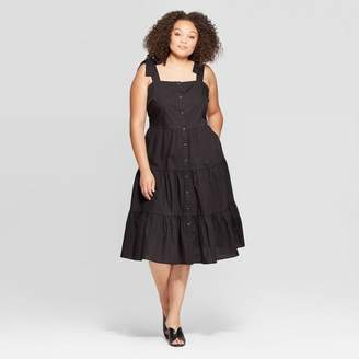 Who What Wear Women's Plus Size Sleeveless Square Neck Tiered Button Front Dress
