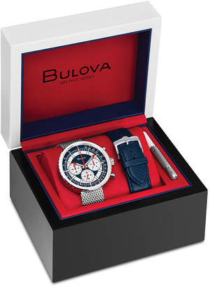 Bulova Limited Edition Men's Chronograph Special Edition Stainless Steel Mesh Bracelet Watch with Interchangeable Blue Leather Strap 50mm