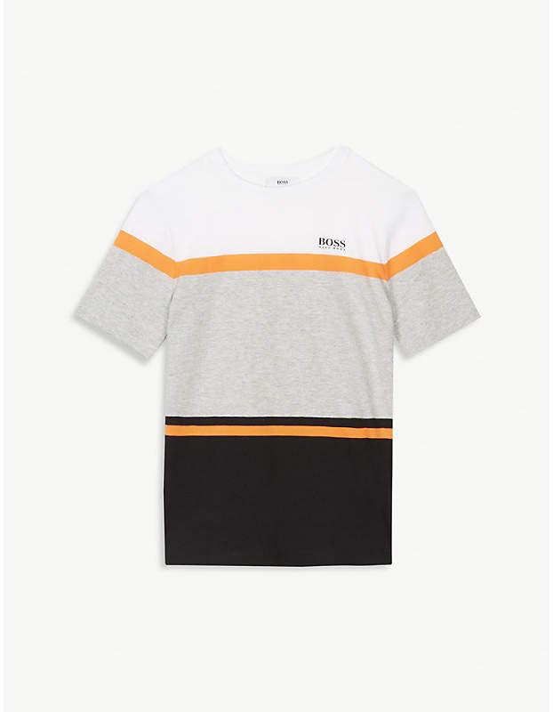 Logo stripe cotton-blend t-shirt 4-16 years