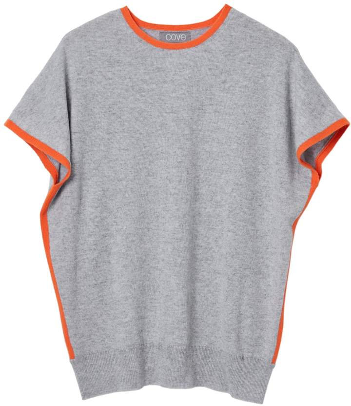 Cove - Eva Cashmere Jumper Grey With Orange