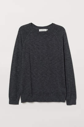 H&M Cotton Raglan-sleeved Sweater - Black