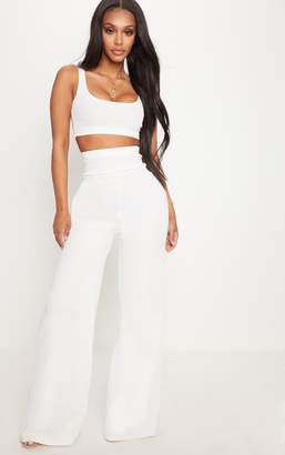 c8aca66897 PrettyLittleThing Shape White Bandage Extreme High Waist Wide Leg Trousers