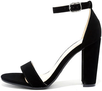 Something Sweet Black Nubuck Ankle Strap Heels $28 thestylecure.com