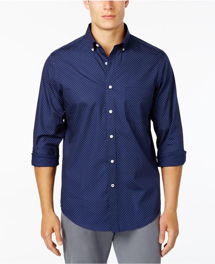 Club Room Men's Dot-Print Stretch Shirt, Created for Macy's