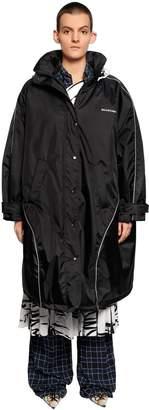 Balenciaga Oversized Long Nylon Parka Coat