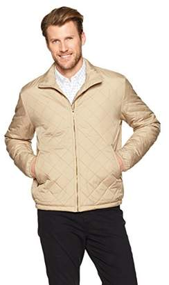 Wood Paper Company Men's Long Sleeve Funnel Neck Quilted Nylon Lightweight Zip-Up Jacket