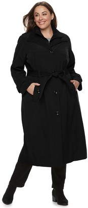 7b56aad393eb3 London Fog Tower By Plus Size TOWER by Belted Trench Coat