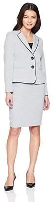 Le Suit Women's Petite Novelty 2 Bttn Wide Lapel Skirt Suit