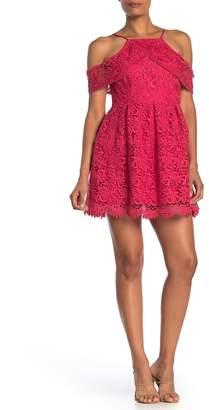 J.o.a. Lace Cold Shoulder Mini Dress