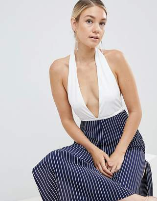 Parallel Lines plunge halter neck body