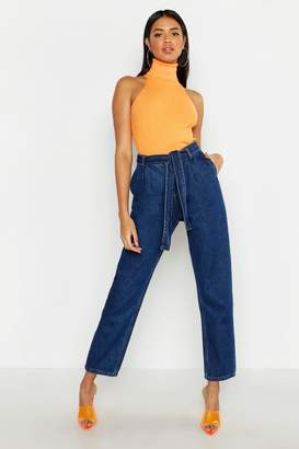 boohoo High Rise Belted Tapered Hem Mom Jeans