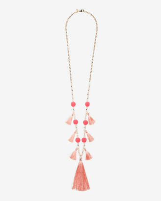 Express Tassel Pom Drop Necklace