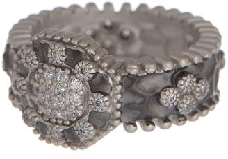 Freida Rothman Contemporary Deco Pave Band Ring - Size 7