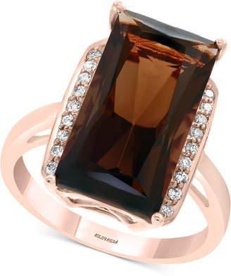 Effy Smoky Quartz (7-1/3 ct. t.w.) & Diamond (1/10 ct. t.w.) Ring in 14k Rose Gold