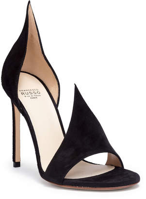 Francesco Russo Black 105 suede asymmetric sandals