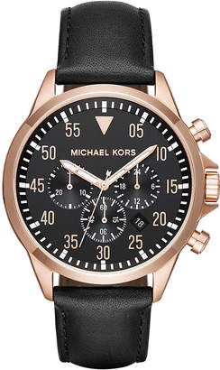 MICHAEL Michael Kors 43mm Chronograph Gage Leather Watch, Black/Rose Golden