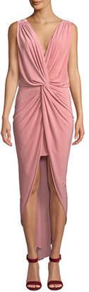 MISA Los Angeles Leza Gathered Crossover Sleeveless Tulip Maxi Dress