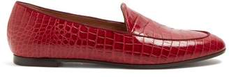 Aquazzura Pursuit Crocodile Effect Leather Loafers - Womens - Red